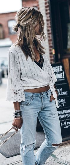 #Summer #Outfits / White Long Sleeve V-Neck Top + Straight Ripped Jeans