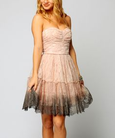 Take a look at this Pink & Gray Ombré Lace Strapless Dress on zulily today!