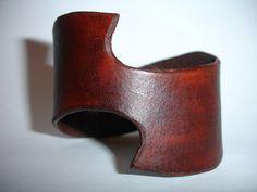 Brown Leather Cuff - Leather Bracelet Cuff - Swoosh Design. $28.00, via Etsy.