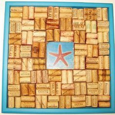 Exclusive Italian marble tile with a Star Fish design in the center of our wine cork board.   Tumbled Italian Botticino Marble Tile (4