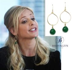 Brooklyn Designs Taina Green Onyx Earrings worn by Sarah Michelle Gellar on The Crazy Ones. #jewelry #SarahMichelleGellar #SMG #TheCrazyOnes