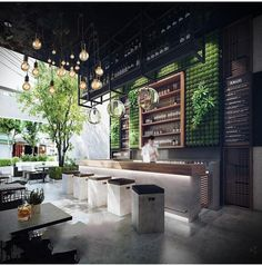 The idea of a bar. as i am trying to get the marble and wood contrast together and on the bar cupboard i can design the logo of the tapas bar. Decoration Restaurant, Deco Restaurant, Restaurant Interior Design, Forest Restaurant, Healthy Restaurant Design, Industrial Restaurant Design, Juice Bar Interior, Vietnam Restaurant, Western Restaurant