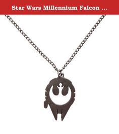 """Star Wars Millennium Falcon Rebel Alliance Fashion Pendant Necklace. This officially licensed Star Wars pendant necklace features a Millennium Falcon pendant with a Rebel Alliance logo cut-out in the middle. Pendant measures approximately 7/8"""" x 1 1/8"""" on a 20"""" chain. Burnished metal finish; metal alloy."""
