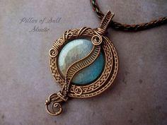 Aqua Agate Wire Wrapped pendant, copper jewelry, woven wire jewelry, wire wrapped jewelry handmade by PillarOfSaltStudio #handmadejewelry