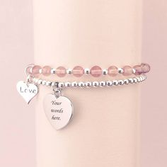 Stacking bracelets made with silver and gemstones with a choice of charms and free engraving. Available here - http://www.jewels4girls.net/stackable-bracelets-79-c.asp