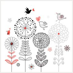 Flower card with birds - Depositphotos