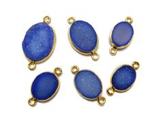 24kt. Gold Plated deep Blue druzy gem stone bezel by finegemstone, $38.00