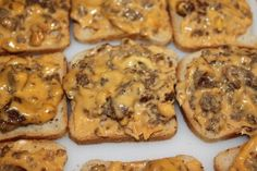 Sausage Cheese on Mini Rye Bread Appetizer