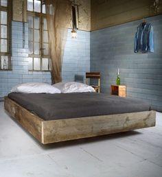 """Baubohlen Bett - Cadenet """"Schwebend"""" 160 von BaubohlenBett auf DaWanda.com"""