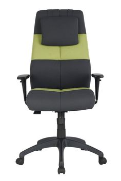 VIVA OFFICE Fashionable Multi-colored (Black and Green) High Back Chair, Fabric Office Chair Desk Chair with movable Headrest and Adjustable Armrest-Viva1200FA