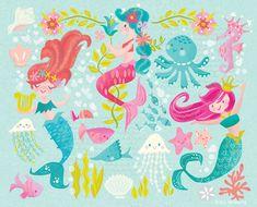 Jill Howarth Illustration – Gallery Mermaid Illustration, Cute Illustration, Character Illustration, Cute Mermaid, Mermaid Art, Mermaid Wallpapers, Pirate Kids, Let's Make Art, Kids Room Murals