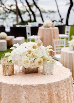 Cocktail hour was done in a chic lounge set-up, with a soft blush and cream color palette, and the most breathtaking ocean views.