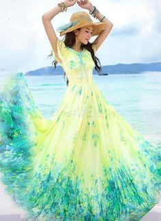 Fashion Shinning Scoop Bohemian Style Zipper-Up Maxi Dress 10954378 - Maxi Dresses - Dresswe.Com