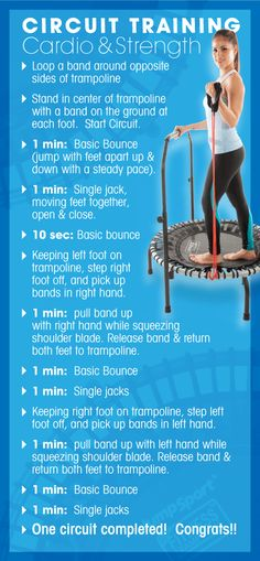 Circuit training for strength will help build muscle & burn calories long after the workout. Conquer cardio & strength in one workout for a full body workout. Mini Trampoline Workout, Small Trampoline, Circuit Training, Strength Training, Fat Burning Workout, Yoga, Muscle Fitness, Easy Workouts, Burn Calories