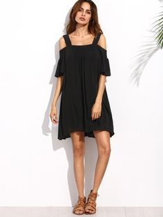 Black Cold Shoulder Ruffle Sleeve Shift Dress -SheIn(Sheinside)