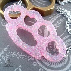 KNUCKLE SANDWICH - Pink Glitter Brass Knuckle Necklace