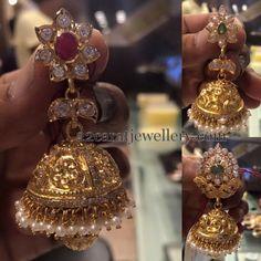 Jewellery Designs: 30 Grams Pachi Jhumkas