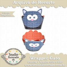 Wrapper Cupcake Gato, Cat, Pet, Domestic, Doméstico, Halloween, Cat Black, Silhouette, Regular Cut, Corte Regular, SVG, DXF, PNG