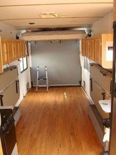 Move fridge to forward of trailer. Like the folding beds Inspiring RV Living & Camper Van Storage Solution Ideas Enclosed Trailer Camper Conversion, Cargo Trailer Conversion, Enclosed Trailers, Toy Hauler Camper, Camper Trailers, Camper Van, Utility Trailer Camper, Toy Hauler Trailers, Travel Trailers