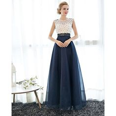 Sheath / Column Illusion Neckline Floor Length Lace Tulle Homecoming Prom Formal Evening Dress with Pearl Detailing by Embroidered Bridal 2018 - Kč1815