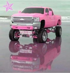 THE truck! Looks like I may have to make some slight alterations to my pink truck plans. This is the MOST beautiful truck I've ever seen! Pink Chevy Trucks, Pink Truck, Jacked Up Trucks, Lifted Chevy, Gmc Trucks, Diesel Trucks, Cool Trucks, Pickup Trucks, Cool Cars