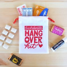 Bachelorette party hangover kit, bachelorette party favors, cotton favor bag for gifts, PACK OF 6 by KaspiParty on Etsy https://www.etsy.com/listing/198117516/bachelorette-party-hangover-kit