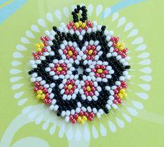 Circular Peyote Stitch Floral Bead Pendant