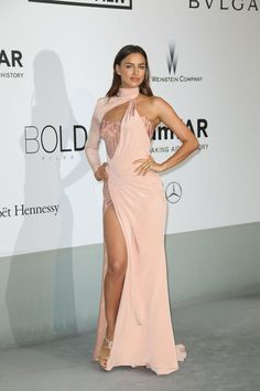 Irina Shayk in pink dress