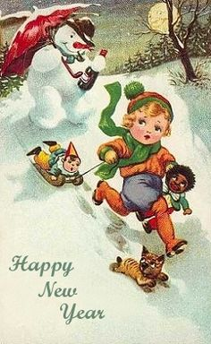 Vintage Happy New Year greeting