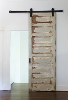 Make a standard door a sliding door using barn door hardware. ♥ these barn doors! The Doors, Sliding Doors, Wood Doors, Front Doors, Entrance Doors, Vibeke Design, Deco Design, Interior Barn Doors, Craftsman Interior