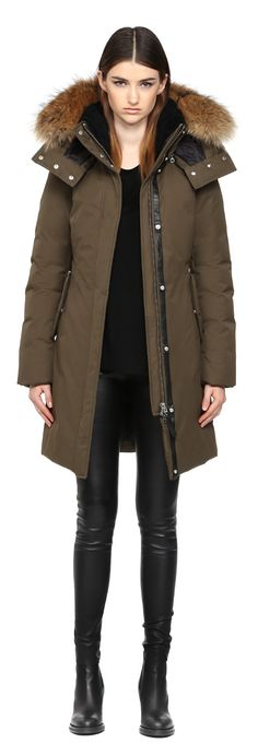 KERRY | LONG ARMY WINTER DOWN PARKA WITH FUR HOOD FOR WOMEN | MACKAGE