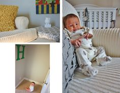 Bold primary colors are balanced with neutral grays, whites, and ivory in this baby boy nursery.  Full post on www.the-moments.com