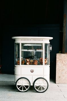 quaint and beautifully branded pretzel kiosk