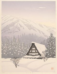MIYAMOTO, Shufu (b.1950-). Snow at Takayama. Original Japanese woodblock print, signed in pencil by the artist. Edition number 48 of 180, 19...