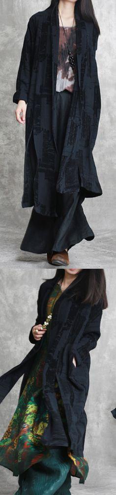 5f6fea150ac74 quality black linen coat plus size jacquard asymmetric vintage cotton  cardigans Cotton Cardigan
