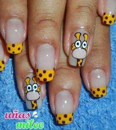 Jirafa Cute Toe Nails, Pretty Nails, My Nails, Acrylic Nail Art, Acrylic Nail Designs, Nail Art Designs, Nail Art For Girls, Nails For Kids, Funky Nail Art