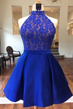 Royal blue lace satin prom dress,halter prom dress,homecoming dress 2017