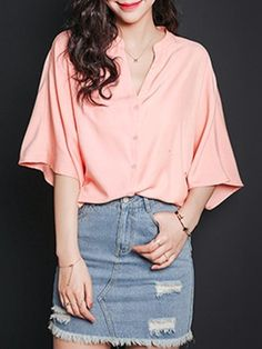 Plain Batwing V Neck Short Sleeve T-shirts #ClothingOnline #PlusSizeWomensClothing #CheapClothing #FashionClothing #womenswear #sexydress #womensdress #womenfashioncasual #womensfashionforwork  #fashion #womensfashionwinter