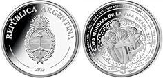 Moneda Argentina dedicada a la Copa Mundial de la FIFA Brasil 2014, facial de 5 pesos, acuñada en plata de 925, calidad proof., diametro de 33 mm. Brazil World Cup, Fifa World Cup, Soccer Fifa, My Roots, Arduino, Money, Personalized Items, Vintage, Coins