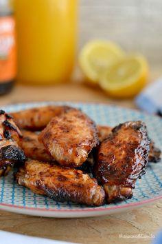 Alitas de pollo con soja, miel y limón Mexican Food Recipes, Ethnic Recipes, Cooking Recipes, Healthy Recipes, Chicken Salad Recipes, Tandoori Chicken, Chicken Wings, Catering, Food And Drink