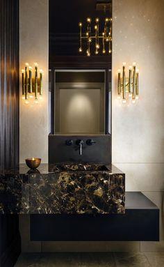 Glamorous Bathroom, Custom Area Rugs, Interior Design Living Room, Design Interiors, Bathroom Inspiration, Bathroom Ideas, Traditional House, Powder Room, Modern Contemporary