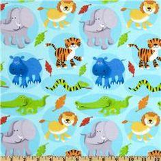 Fabri-Quilt Cuddle Flannel Baby Safari Blue