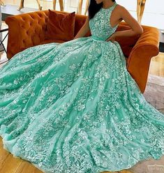 luxury mint prom dresses modest long party dresses unique a line sheer tulle evening gowns P2558