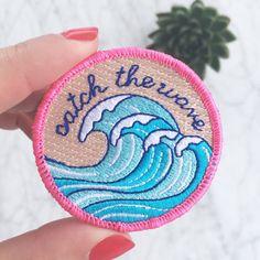 Surf - Welle Patch, Strand-Vibes, Aufbügeln, Applique, bestickte Patches, Applique, Wildblume + Co. DIY bestickt