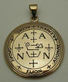 Archangel Zadkiel Talisman Gold tone Bronze Sigil of Zadkiel Angelic Pendant