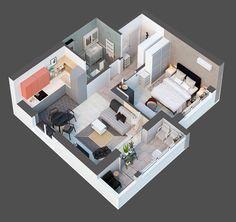 De arriba hacia abajo diagrama de arquitectura de apartamentos de 40 metros cuadrados