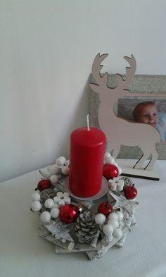 Vánoční+svícen+-jablíčka,bobule+Vánoční+svicen.+Výška+16cm,průměr+16cm.