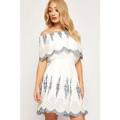 Destiny Bardot Layered Floral Lace Trim Lined Dress