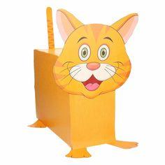 Oranje kat / poes zelf maken knutselpakket/ Sinterklaas surprise. Compleet basis bouwpakket om een kat te kunnen maken zoals op de afbeelding. Dit pakket bestaat uit de basismaterialen en instructies die u nodig heeft om een oranje kat te knutselen van ongeveer 41 x 16 x 35 cm. Daarna kunt u de surpise naar eigen wens versieren en personaliseren. Extra nodig: - Lijm - Schaar - Plakband / tape Ruimte voor kado: In het doosje is een ruimte van ongeveer 35 x 24 x 12 cm.