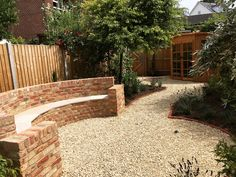 A permanent, weatherproof outdoor seating solution Brickwork, Outdoor Seating, Garden Design, Sidewalk, Building, Buildings, Walkways, Brick Wall, Pavement